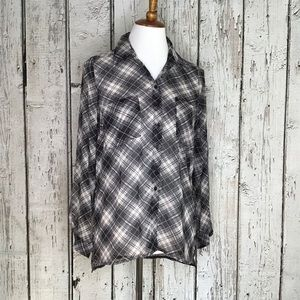Band of Gypsies sheer plaid/paisley button up